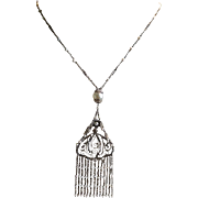 Vintage Art Nouveau Gilt Silver Filigree Seed Pearl Fringe Necklace