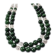 Classic Double Strand Lampwork Glass Choker Necklace