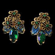 Vintage Royal Blue Aurora Borealis Navettes Earrings