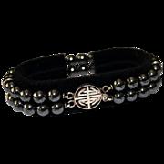 Asian Sterling Double Strand Hematite Bracelet