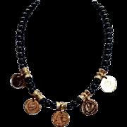 Vintage 24K Gold Plated Mediterranean Onyx Necklace