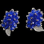 Vintage Cobalt Blue Beaded Crystal Dress Clips