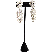 Fabulous Matching Pair Clear Rhinestone Navette Dress / Fur Clip