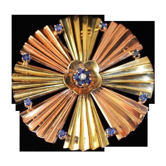 Art Deco Sapphire Diamond 14kt Rose Yellow Gold  Brooch