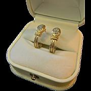 Custom Ladies 14kt Gold Diamond Pave J Hoop Earrings