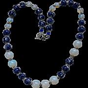 Asian Blue White Porcelain / Moonstone Beaded Necklace