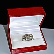 Estate Diamond Tsavorite 14kt Gold Anniversary Ring