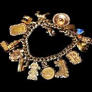 Estate Travel Charm Bracelet 14kt, 18kt, 24kt Gold