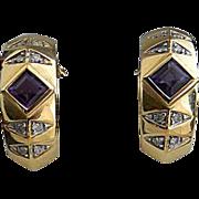 Brazilian Amethyst Diamond 14kt Gold Hoop Earrings