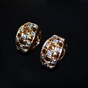 Estate 14kt Gold Checkerboard Huggie Diamond  Earrings