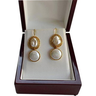 SALE Estate 18K Gold Large Baroque & Mabe Pearl Drop Earrings