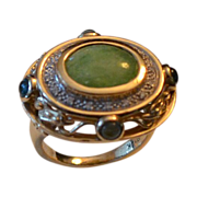 Estate 14k Gold Jadeite, Diamond & Gemstone Ring