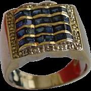 Modernist 14K Gold Sapphire Diamond Channel Set Ring