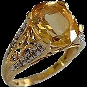 Fancy 14K Gold 4 Carat Citrine & Diamond Pave Ring