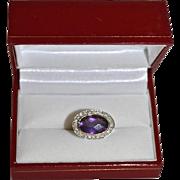 Modernist 14K Gold Oval Amethyst & Diamond Pave' Ring