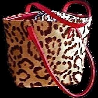 SALE Couture Valentino Garavani Leopard Print Tote Handbag Italy