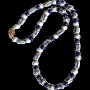 Vintage Asian Blue White Porcelain Lapis Bead Necklace