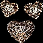 "Christian LaCroix  ""Trois Coeurs"" 18kt Gold Plate Brooch & Earrings"