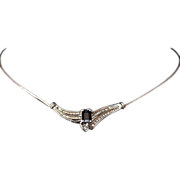 Estate 14kt Gold Ladies 1.47 Carat Sapphire & Diamond Necklace Italy