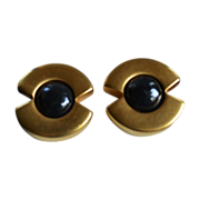 Vintage Lagerfeld 18k Gold Plate Half Moon Gripoix Glass Earrings