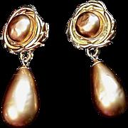 Lushious Vintage Karl  Lagerfeld Faux- Pearl Gold Dangle Earrings