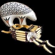 Vintage Southwestern Ox Bone  Leather Necklace
