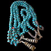 Southwest Pueblo Joclas Turquoise Double Strand Nugget Beaded Necklace