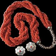 Vintage Southwestern Torsade Trade Bead Necklace