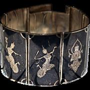 Stunning Sterling Black Niello Panel Bracelet & Earrings