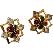 Vintage Ricci Etruscan Gold Plated Crystal Earrings