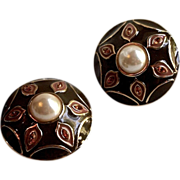 Guy Laroche 14kt Gold Plate Crystal & Simulated Pearl Earrings