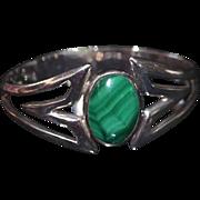 Taxco Malachite Sterling .950  Silver Clamper Bracelet
