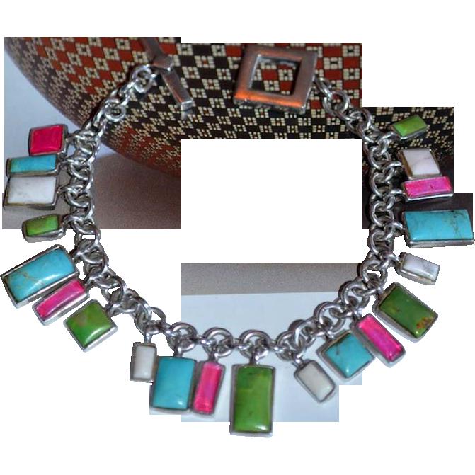 Modernist Sterling  Multi-Gemstone Charm Bracelet