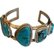 Southwestern Chunky Sterling Trapezoid Natural Turquoise Cuff Bracelet