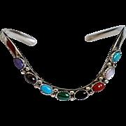 Southwest Sterling Multi-Colored Gemstone Bracelet