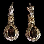 Topaz Tear Drop 14kt Gold & Sterling Pendant Earrings