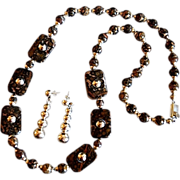 """Amazing 30"""" Leopard Jasper Sterling Bead Necklace Mexico"""
