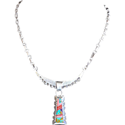 Vintage Multi-Gemstone Sterling Silver ZUNI Pendant Necklace