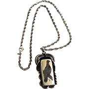 Sterling Southwestern Carved Bone Pendant Quail Necklace