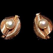 Heirloom Tiffany & Co 14K Gold Cultured Pearl Shell Earrings