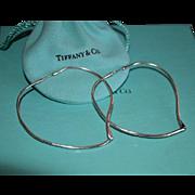 Large Tiffany & Co Sterling Open Heart Hoop Earrings Elsa Peretti