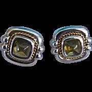 Tiffany & Co Rare Citrine 18kt / Sterling Cushion Earrings