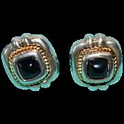 Retired Tiffany & Co Onyx Sterling 18kt Gold Cushion Earrings