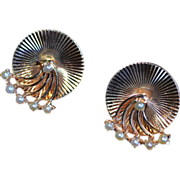 Estate Tiffany & Co 14k Gold Spinning Trembler Seed Pearl Earrings