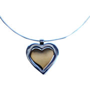 Tiffany & Co 18K Sterling / Gold Large Heart Pendant Necklace