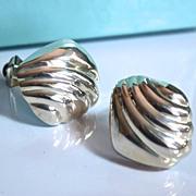 Tiffany & Co Vintage Puffy Ridged Shell Earrings