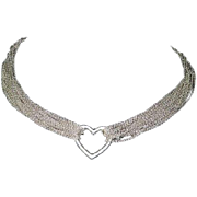 Tiffany & Co Large Sterling Silver Open Heart Meash Necklace