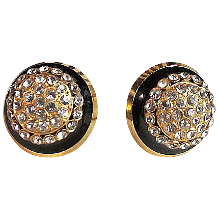 Valentino 10kt Gold Plate Black & Crystal Cluster Earrings