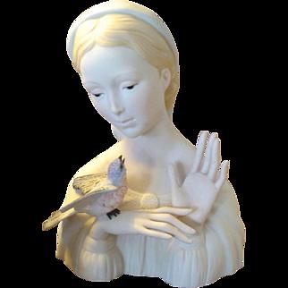 SALE Vintage CYBIS Porcelain Madonna with Bluebird