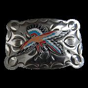 Vintage Etched Nickle Silver Warrior Buckle Mint